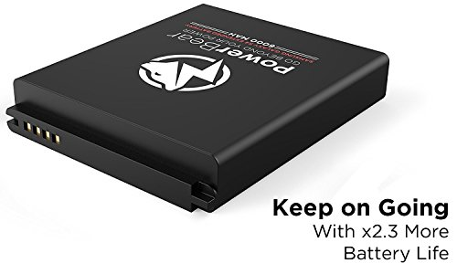 PowerBear Samsung Galaxy S4 Extended Battery 6000mAh Back Cover Protective court case Up to 23X Extra Battery energy Black 24 Month guarantee tv screen Protector involved Cases