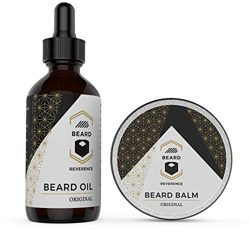 Beard Oil and Beard Balm by Beard Reverence – Premium All Natural 60ml Leave-in Conditioner Oil + 60g Beard Butter Mustache Wax – Beard and Mustache Grooming Kit for Styling, Growth, and Health