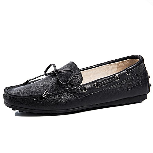 OZZEG Women's Flat Shoes Genuine Leather Soft Moccasins Loafer Shoes (8 US, (Studded Leather Moccasins)