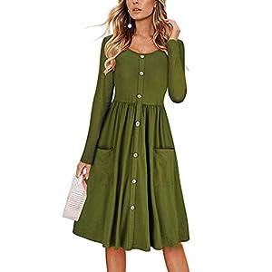 8a0b6d14427 Befily Womens Long Sleeve Button Down Loose Swing Midi Dress Pockets