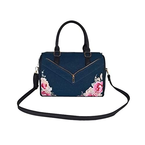Women's Denim Blue Printed Top Handle Handbag Casual Embroidered Crossbody Tote with Golden Hardware (Style1-Navy Blue)
