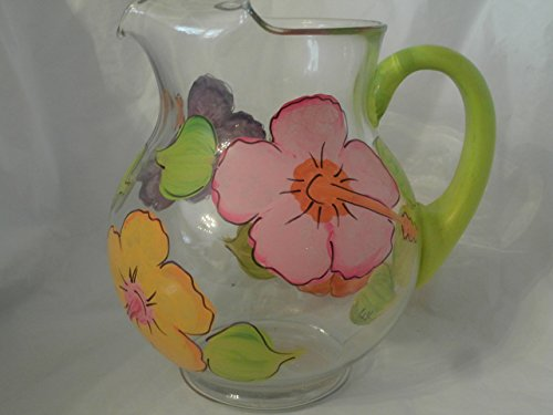 Hand Painted Glass Pitcher (Hand painted Multi hibiscus round