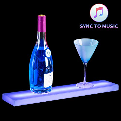 - Nurxiovo Music-Activated LED Lighted Liquor Shelf 20 inches Lighting Bottle Display Stand Illuminated Home and Commercial Bar Shelves/Rack with RF Remote Control
