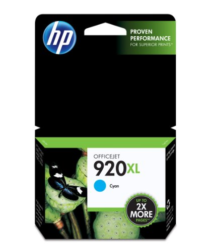 Price comparison product image HP 920XL Cyan High Yield Original Ink Cartridge (CD972AN) for HP Officejet 6000 6500 7000 7500