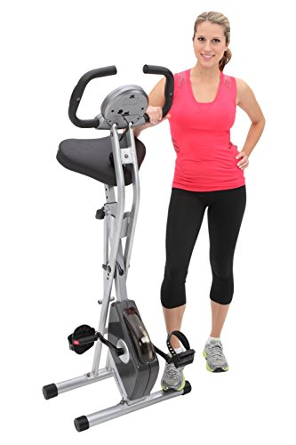 Exerpeutic Folding Magnetic Upright Bike with Equipment Mat