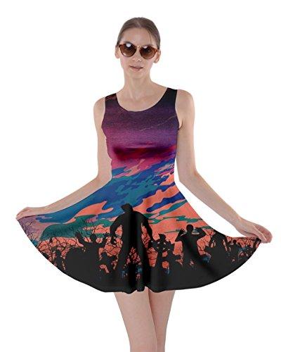 CowCow Womens Zombie World Halloween Bats Skater Dress, Colorful - XL ()