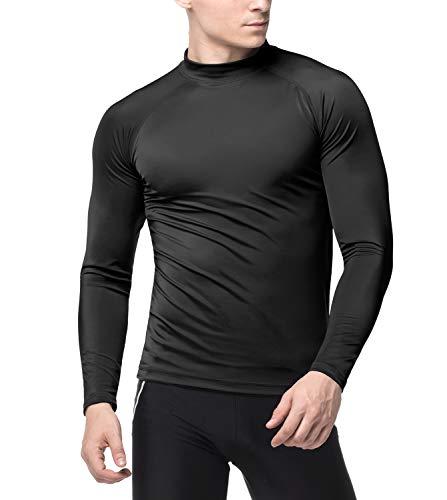 LAPASA Swimwear - Men's Long Sleeve Rash Guard, UPF50+ Solar Protection (98% Anti-UV, for Swimmers) M43 (Black (Without Logo), US Size: L/EU Size: XL)