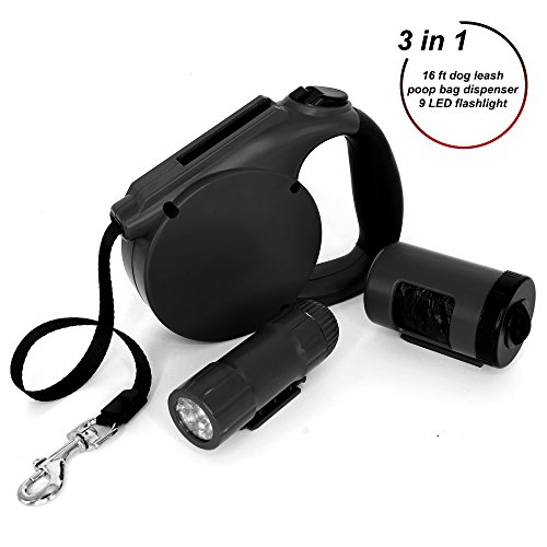 15 Foot Retractable Dog Leash - Retractable Dog Leash - Walking Leash 15 ft for Small Medium Breed 44 lb - Retractable Leash Set with Light and Waste Bag Dispenser - Durable Plastic Pet Training Leash Cord Best for Puppy Adult Dog