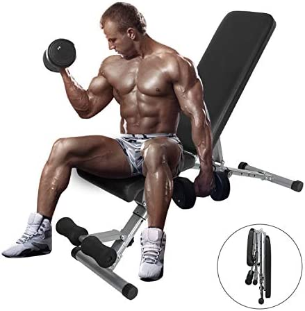 ER KANG Adjustable Weight Bench 600 lbs Weight Capacity Foldable Workout Bench DeclineInclineFlat for Home Gym Strength Training Weightlifting