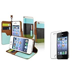Cerhinu Everydaysource compatible with Apple? iPhone? 4 / 4S Blue / Black / Green Leather Case + Clear Reusable Screen...