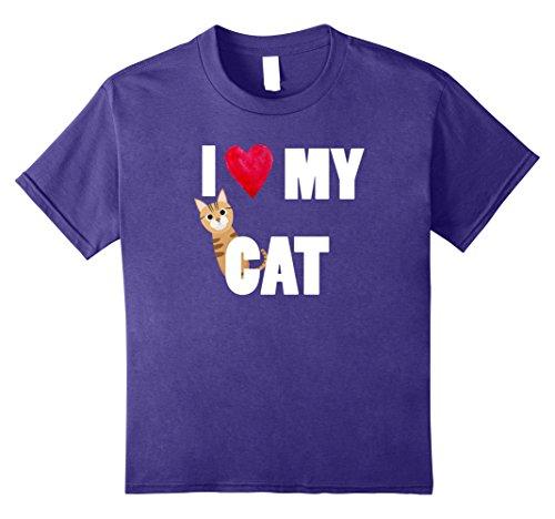 Kids I Love My Bengal Cat T-Shirt 8 Purple