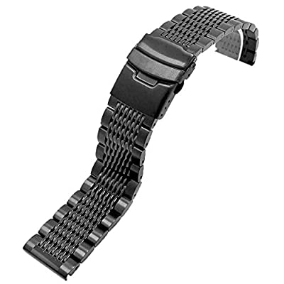 Premium Brushed&Polished Stainless Steel Watch Band Metal Mesh Watch Straps Double Locks Diver Clasp Bracelet 20mm/22mm/24mm for Men Women,Silver/Black/IP Gold/IP Rose Gold
