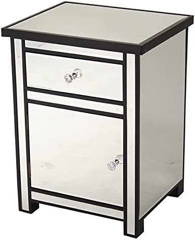 Heather Ann Creations Petite Accent Cabinet with Beveled Trim and Mirror Finish, 25.25 x 20 , Black