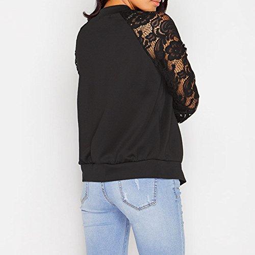 Longues Manteau Top Femme Patchwork Automne Printemps Veste Coat Manches Dihope Noir Outwear Casual Dentelle wFXzTgqY