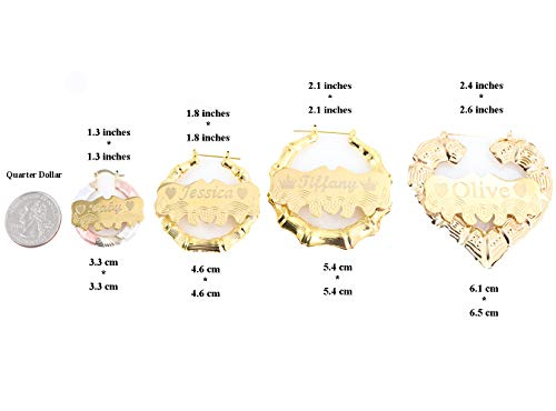 Custom Personalized Gold plated Hoop Name Bamboo Earrings 2.0'' Custom Made with Any Names by Tina&Co (Image #4)