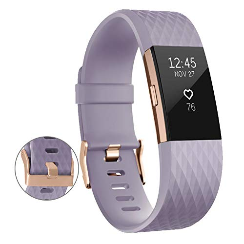 UMAXGET Compatible with Fitbit Charge 2 Bands, Soft Silicone Sport Adjustable...