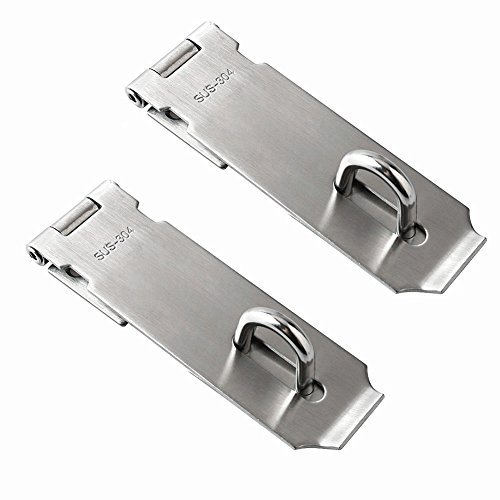 Jsentai Security Hasps for padlock, Heavy Duty 304 Stainless Steel Security Hasps with Mounting Screws 5'' Length Pack of 2