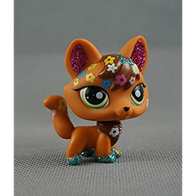 Littlest Pet Shop LPS#14 Toys Brown Tan Shimmer Sparkle Fox Green Eyes: Toys & Games