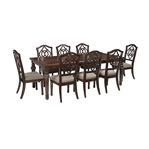 Ashley Leahlyn 9 Piece Dining Set in Reddish Brown