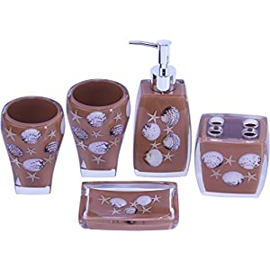 41uDC2OHNAL._SS300_ 70+ Beach Bathroom Accessory Sets and Coastal Bathroom Accessories 2020