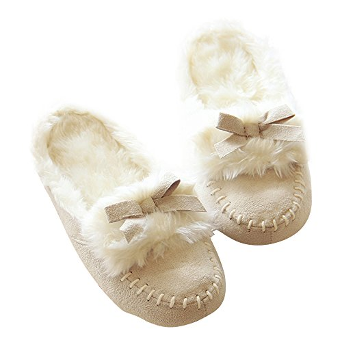 Eastlion Thick Plush Warm Shoes Imitation Leather Cloth Home Slippers Beige