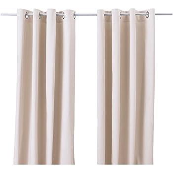 Ikea Merete Beige Curtains Drapes 2 Panels Pair Cotton NEW Grommets