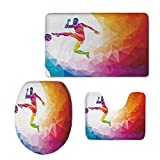 3D Digital Printing,Teen Room Decor,Fractal Soccer Player Hitting The Ball Polygon Abstract Artful Illustration Decorative,Multicolor,3 Piece Shower Mat Set