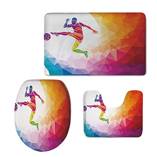 3D Digital Printing,Teen Room Decor,Fractal Soccer Player Hitting The Ball Polygon Abstract Artful Illustration Decorative,Multicolor,3 Piece Shower Mat Set by iPrint