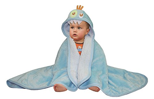 Baby Mink Premium Soft Sherpa Character Hooded Towel Blanket, Monster, Blue, 39' L x 30' W