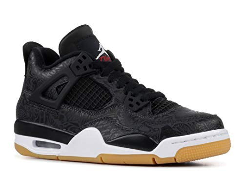 Air Jordan Retro 4 SE Black Laser Black/White-Gum Light Brown (GS)
