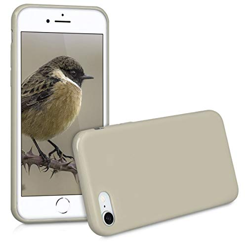 kwmobile TPU Silicone Case for Apple iPhone 7/8 - Soft Flexible Shock Absorbent Protective Phone Cover - Beige Matte