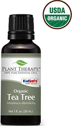 Plant Therapy USDA Certified Organic Tea Tree (Melaleuca) Essential Oil. 100% Pure, Undiluted, Therapeutic Grade. 30 ml (1 oz).