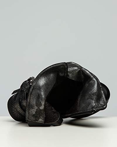 Sbo089 Casper Para Vintage Flores Negro Hebillas Mujer Botines Con amp; gpdUwxfd