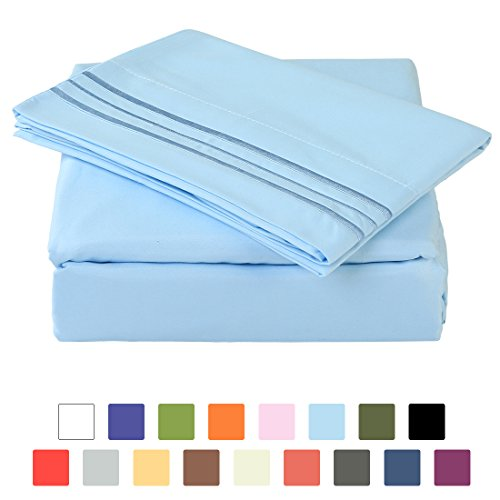 Percale Sheets Kids Bedding (BLC Bed Sheet Set, Hypoallergenic Microfiber 3-piece sheets with 14-Inch Deep Pocket (Twin, Lake Blue))