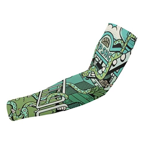 ManSanTuBaZhu Rattlesnake Cowboy Arena Unisex Protection Sleeves-Sun Gloves Cover,Anti-UV Sunscreen Cool Arm Long Elasticity for Outdoor Sports-1 ()