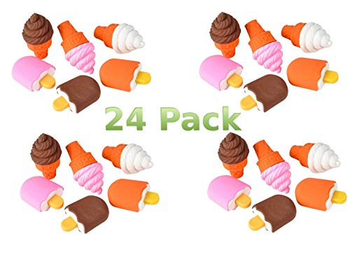 Aryellys Ice Cream Puzzle Erasers 24 Pack Party Favors Frozen Treats Pencil -