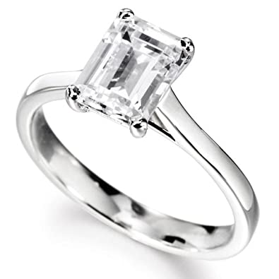 14K White Gold Solitaire Diamond Engagement Ring Emerald Cut ( G Color VS2  Clarity 0.46 ctw