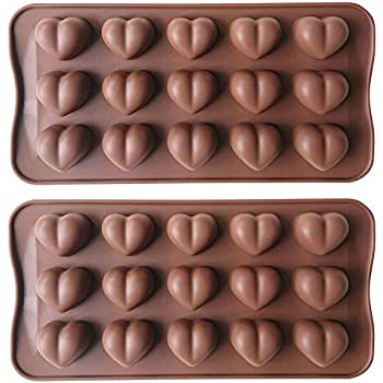 AxeSickle Heart Shaped Chocolate Mold 2PCS Silicon Mold Small Candy Mold, Hard Candy Mold, Baking Mold, DIY Heart Shaped Cake Decoration.