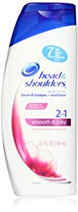 Head and Shoulders Smooth & Silky 2-In-1 Dandruff Shampoo + Conditioner 23.7 Fl Oz (Pack of 2)