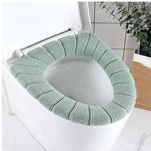 Toilet Valet - MaxFox 4Pcs Toilet Pads Seat Cushioned Cover Bathroom Soft Fiber Stretchable Washable Round Covers for Home Ornament (Multicolor)