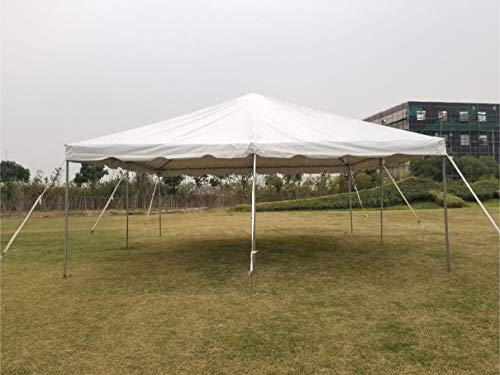 (20-Foot by 20-Foot Steel West Coast Frame Style Party Tent for Weddings, Graduations, and Events (White PVC)