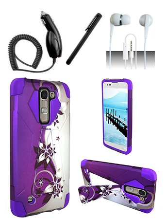 Nokia Lumia 650 [Shoparound168] Purple Silver Vines Hybrid Dual Layer Case w/ Built in Kickstand + Car Charger + Free Stylus Pen + Free 3.5mm (Nokia Lumia 650 Phone)