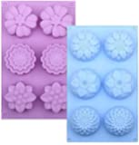 Silicone Flower Cake Molds Set of 2, 6-Cavity DIY Handmade Soap Molds, Dessert Baking Pans, Silicone Soap Bar Mould for…