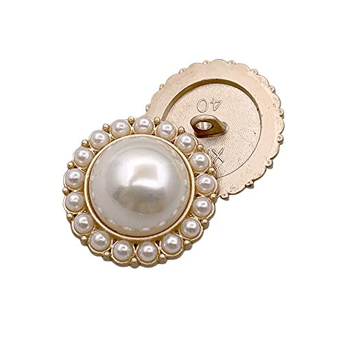 """Riverbyland 1"""" Artificial Pearl Gold Metal Shank Buttons for Sewing 25 PCS"""