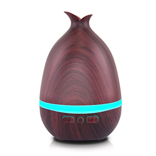 AROVA Essential Oil Diffuser 180ml Wood Grain Ultrasonic Aromatherapy Oil Diffuser with Adjustable Mist Mode Waterless Auto Shut-off Humidifier and 7-Color Changing LED Lights for Home Office SPA Baby