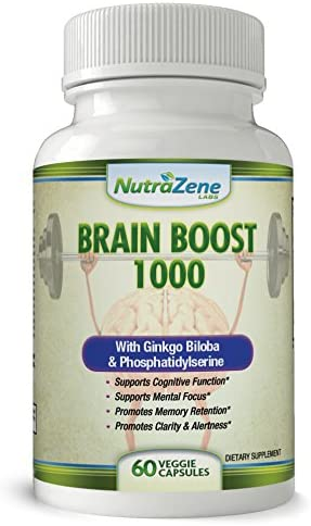 MAXIMUM STRENGTH Brain Boost Supplement for Increased Focus, Memory Clarity – All Natural Nootropic w Ginkgo Biloba, Bacopa, Phosphatidylserine, St John s Wort -VEGAN- One A Day – 2 Month Supply