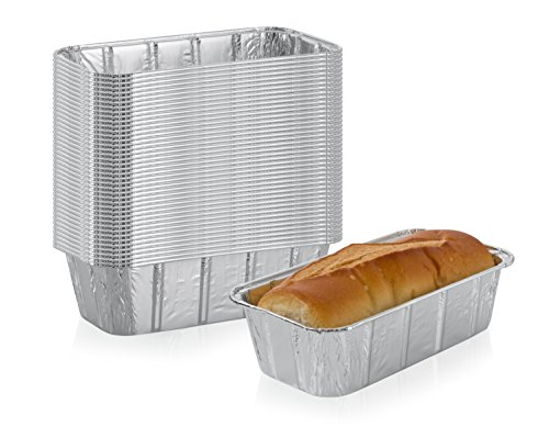 Disposable Loaf Pans (Multi Pack of Disposable Aluminum Foil loaf Bread Pans | 2-Lb Capacity | Superior Heat Conductivity for Evenly Baked Cakes, Breads, Meatloaf and quiche - Standard Size - 8.5 X 4.5 X 2.5 Inch - 30-Pack)