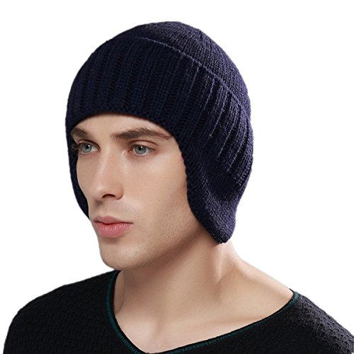Home Prefer Mens Winter Knit Earflap Hat Cuffed Beanie with Ears Warmer Navy Blue