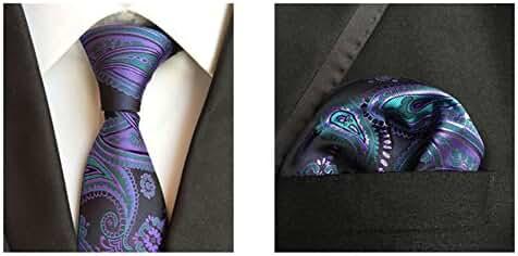 MENDENG Men Black Green Paisley Silk Necktie Ties Handkerchief 2 Pieces Tie Sets