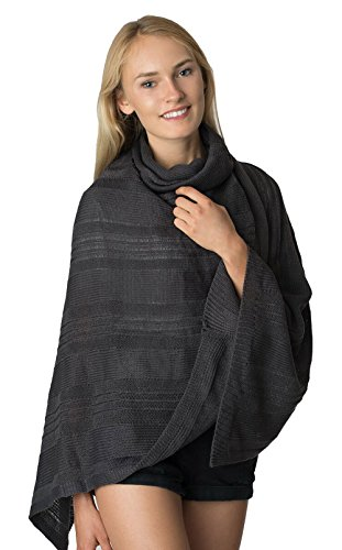 (LL - Dark Gray Cowl Short Open Knit Asymmetric Pullover Sweater Poncho Top Tunic Shawl Wrap with Turtleneck and Fringe)